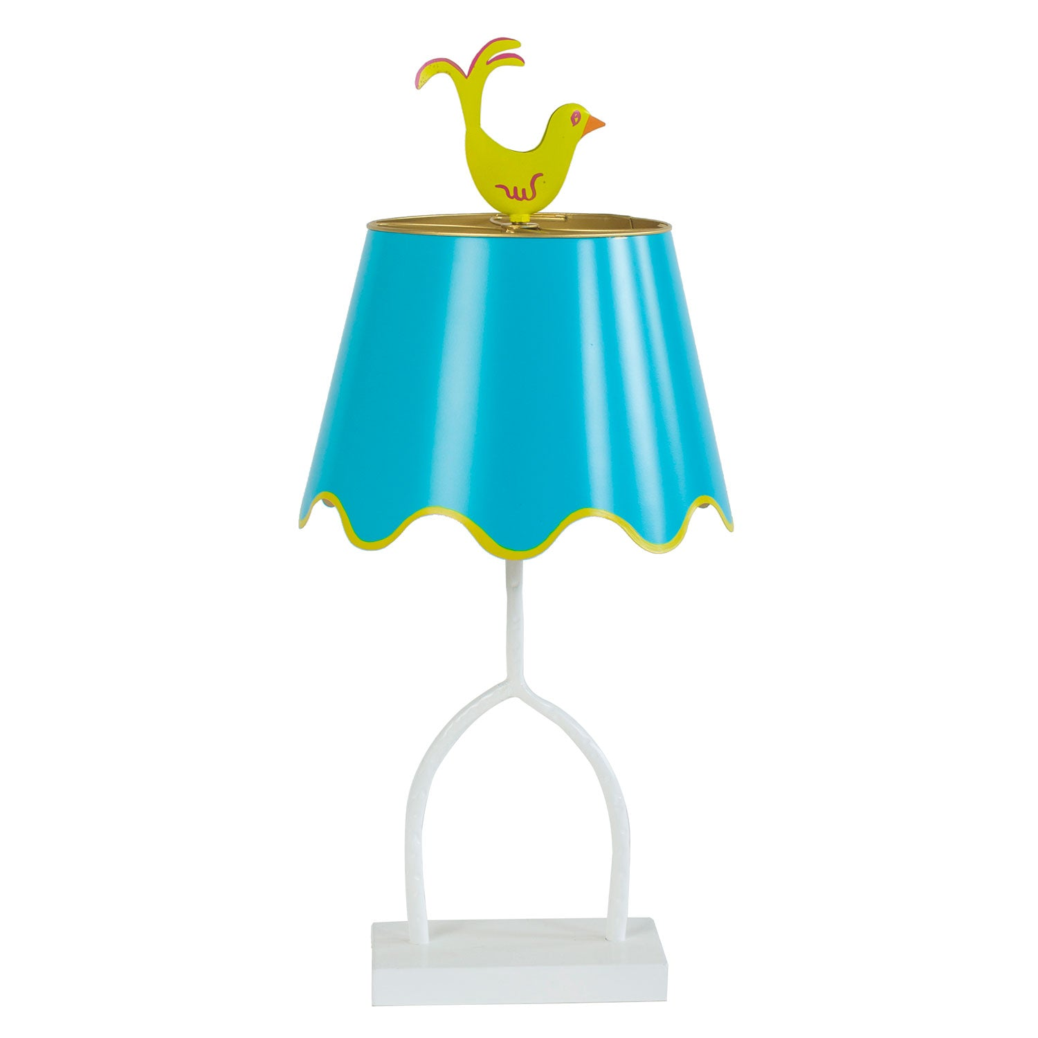 Dash tole table lamp with birdie finial by stray dog designs