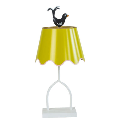 chartreuse table lamp with tole shade and finial and iron base