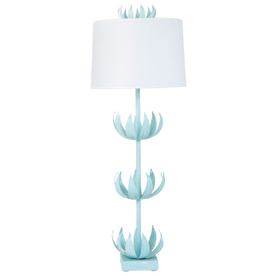 tall blue tole lamp with flowers , Doug Buffet Lamp