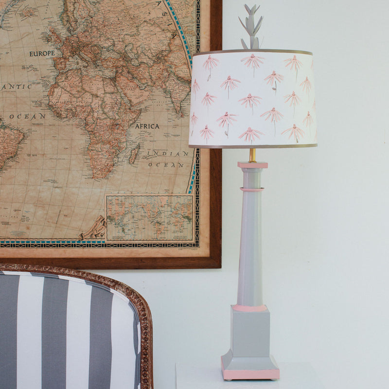Erica tole table lamp , shade with hand painted cone flowers