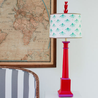 red tole lamp with aqua painted flowers on shade