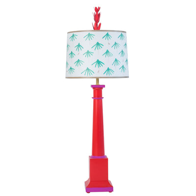red and aqua Erica table lamp with tole base and paper shade
