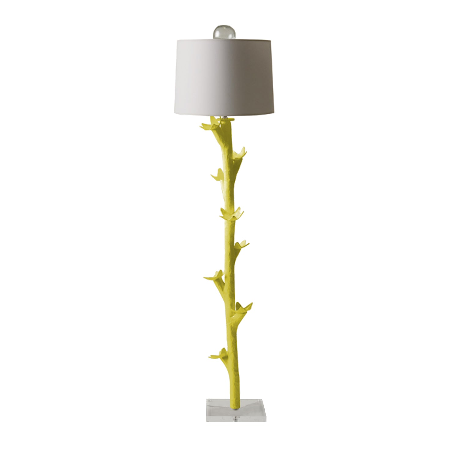 chartreuse papier mache funky floor light by stray dog designs