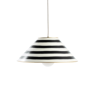 black and white striped tole pendant, Gray Landry ceiling light.