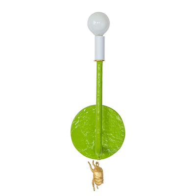 green papier mache wall light with gold bug, James Sconce