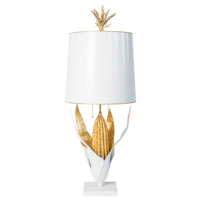 Maize lamp, Stray Dog Designs, white and gold corn shaped table light