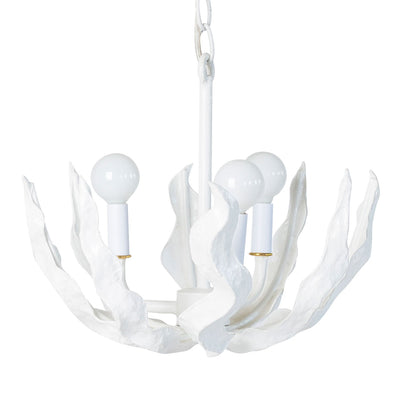 little ceiling light in white with waving seaweed frond made from paper mache