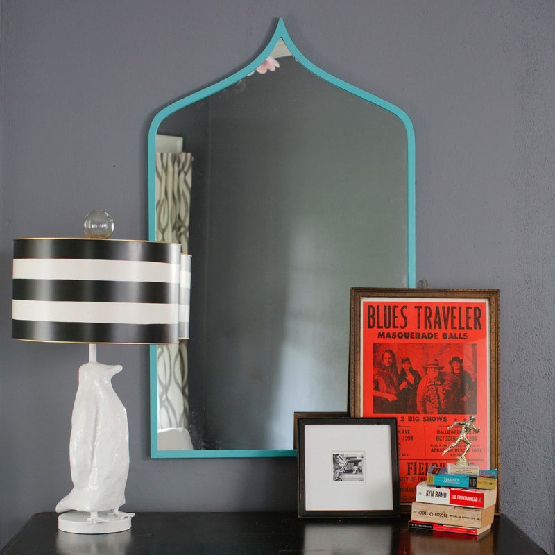 Marrakesh Mirror with iron Moroccan inspired frame in navy blue.