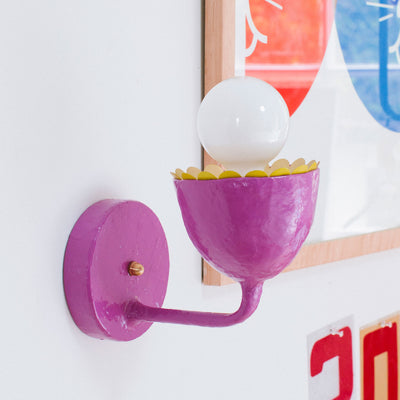 purple Millie Sconce chartreuse scallop, Stray Dog Designs