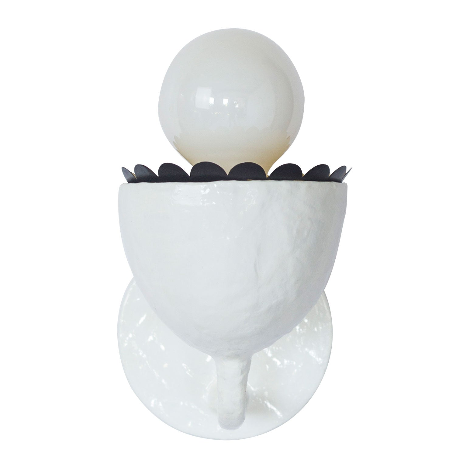 white Millie Sconce with black ruffle, papier mache and tole