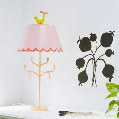 Gold iron stick base with branches and tole scallop shade in pink with red trim
