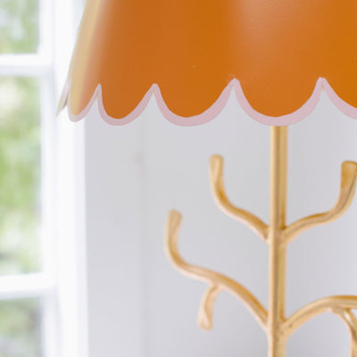 orange and pink stick lamp with scallop shade, Stray Dog Designs