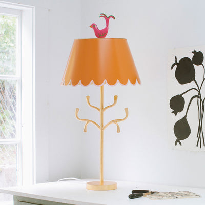 Stray Dog tole lamp, orange, pink and gold, Mrs English