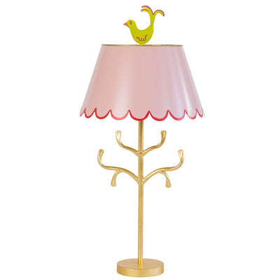 Light pink Mrs English lamp, red trim on scallops, chartreuse birdie finial