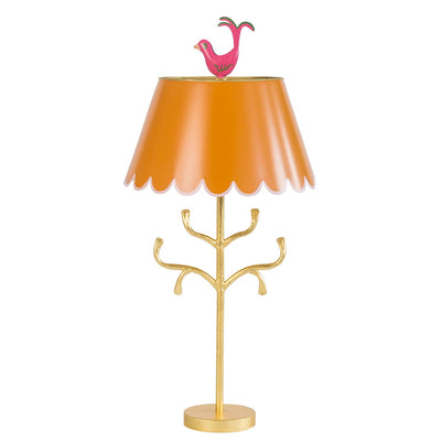 Mrs English lamp, with orange tole shade and pink bird finial