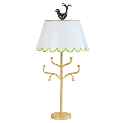 toleware lamp, white scallop edge shade, green trim, black bird finial, gold iron base