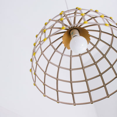 hanging ceiling light , dome shaped, made of tin, Stray Dog Designs