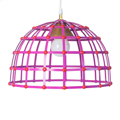 tole cage dome ceiling fixture in purple and red by Stray Dog Designs