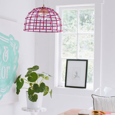 domed cage light in bright colors, hand made in mexico for stray dog