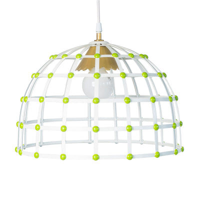 white and green metal caged dome pendant light for stray dog designs