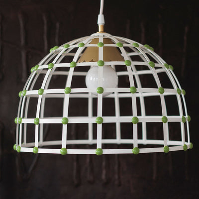 handmade tole hanging light with dome shape and cage design