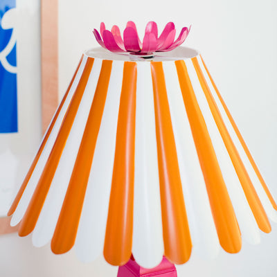striped scallop shade in orange and white, Norma Table Lamp, tole
