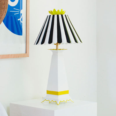 black and white tole light with striped scallop shade, Norma Lamp