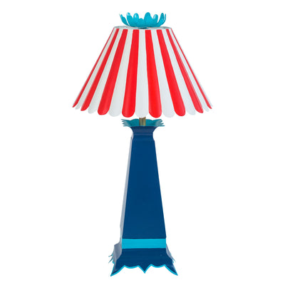 red and white striped scallop shade, blue tole lamp, Norma Lamp