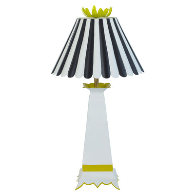 black and white Norma lamp, chartreuse flower finial, Stray Dog