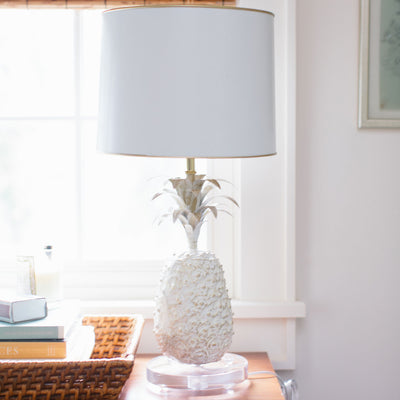 white papier mache pineapple lamp with tole shade