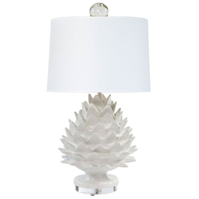 Small artichoke Lamp in white by Stray dog Designs, paper mache