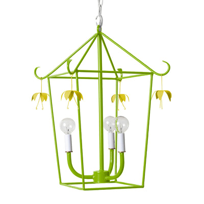 hanging lantern in green with chatreuse flower flower drops for Stray Dog