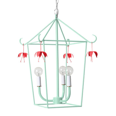 light blue iron pagoda shaped Vincent lantern with red flowers