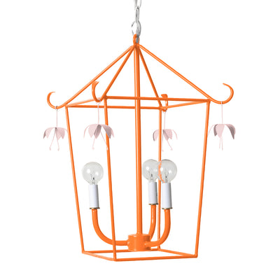 orange and pink Vincent hanging lantern , pagoda inpired design