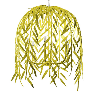 chartreuse papier mache willow chandelier for Stray Dog Designs