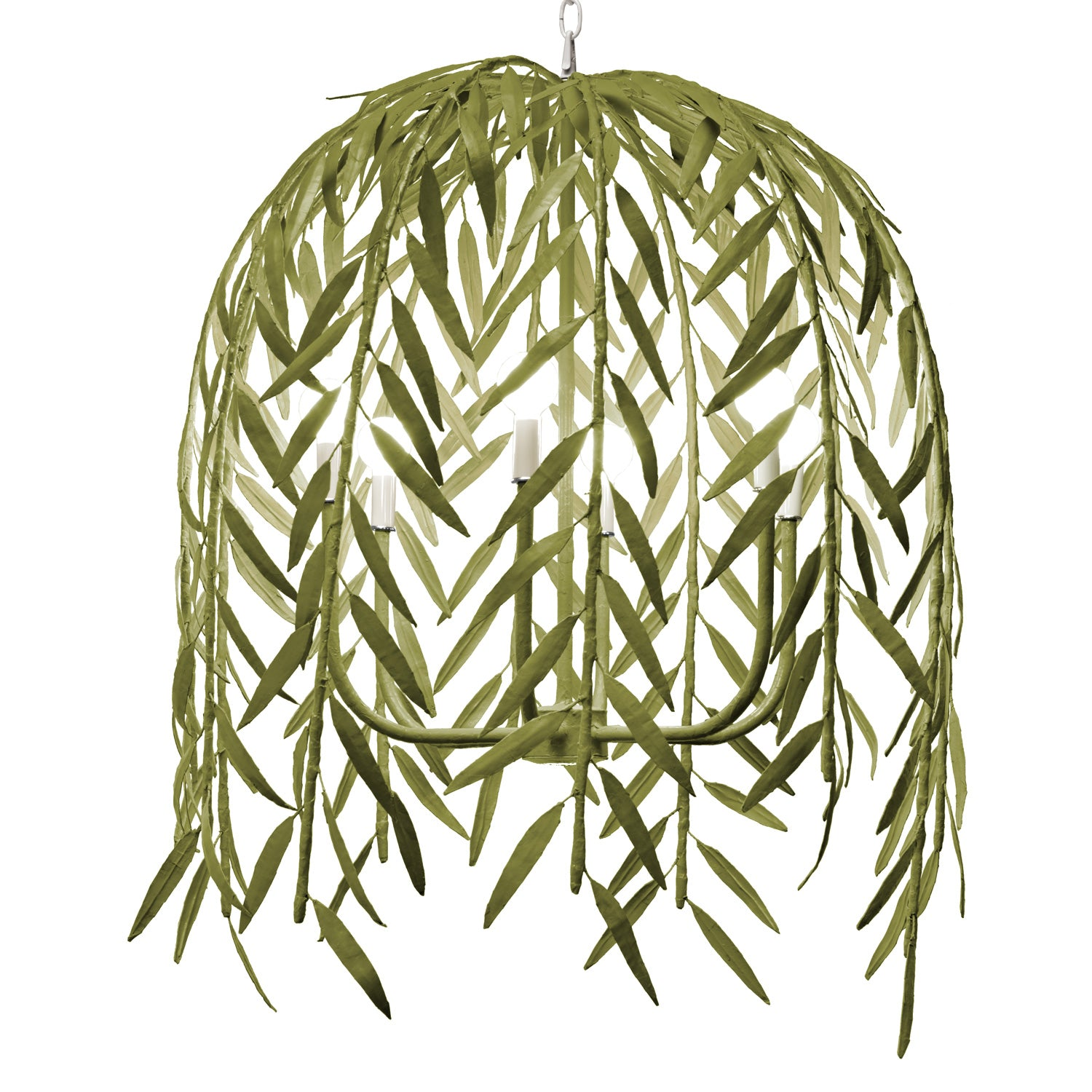 leafy green willow chandelier handmade from paper mache
