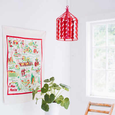 fun and flirty red and pink hanging lantern light for Stray Dog