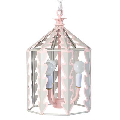 soft gray and pink iron hanging lantern with leaf like cut outs