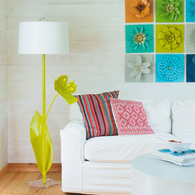 Mariana Floor Lamp in Chartreuse with beautiful papier mache bloom
