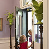 crunchberry papier mache plants flank enchanting entryway