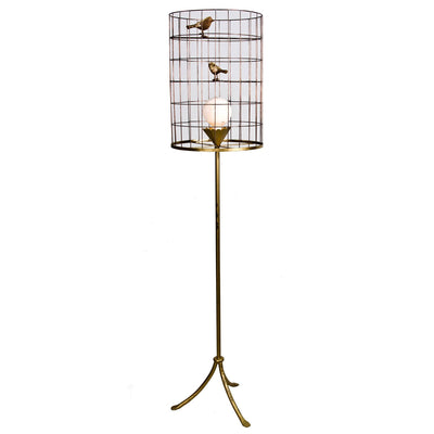 Stray Dog Designs Floor Light with Bird Cage Shade in Gold