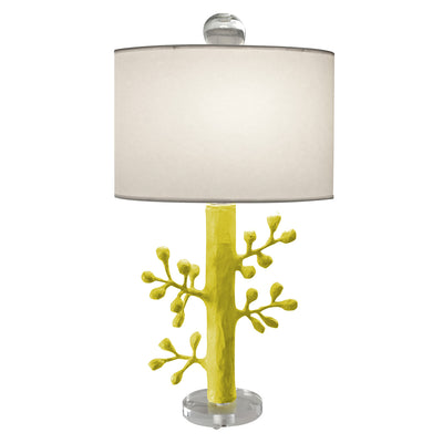 Ava Lamp, handmade in Mexico, chartreuse papier mache light