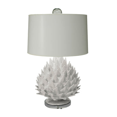 Artichoke Lamp in gray, handmade of paper mache