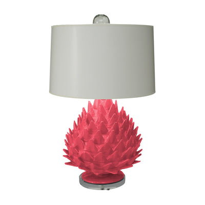 Pink Artichoke Lamp, artisan made, papier mache lamp