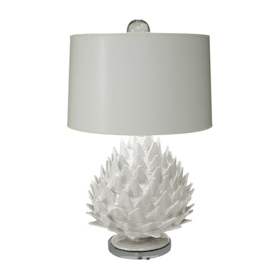 white papier mache Artichoke Lamp with glass ball finial