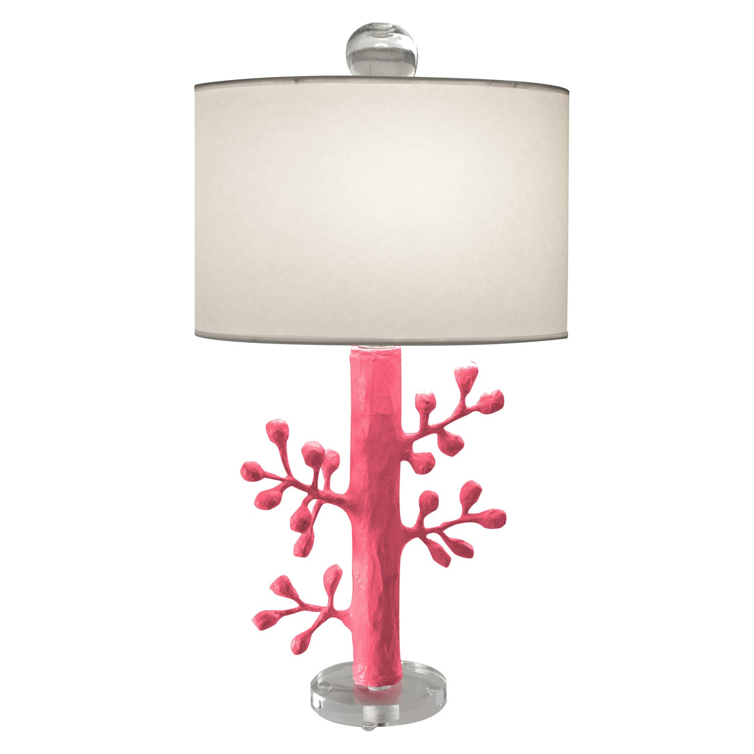 Pink papier mache Ava Lamp with branches by Stray Dog Designs
