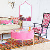 Pink Marrakesh Mirror in funky living room