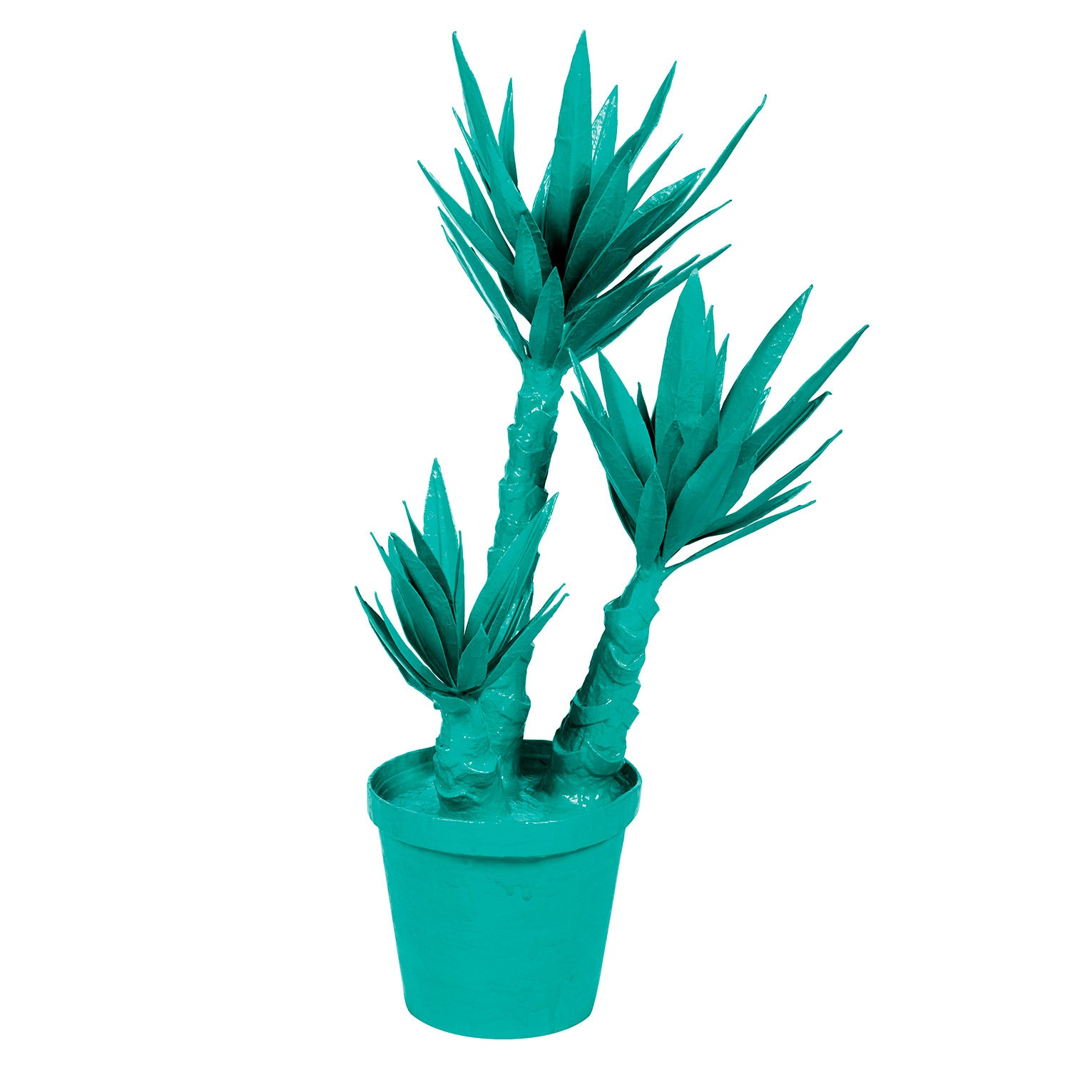Yucca Plant made of paper mache and painted bright blue.