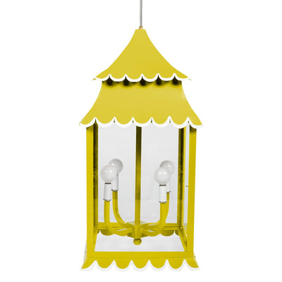 Chartreuse scalloped iron hanging lantern by Stray Dog Designs