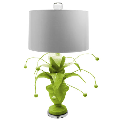 Crunchberry Lamp, green papier mache with plant design, Stray Dog